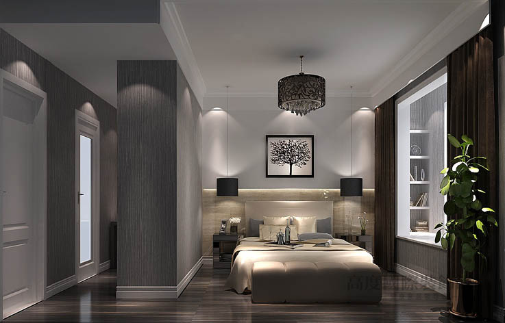 现代 公寓 卧室图片来自高度国际设计装饰在龙湖蔚蓝香醍170平米现代风格的分享