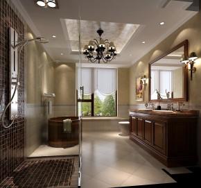 高度国际 美式 别墅 白领 简约 80后 白富美 高富帅 时尚 卫生间图片来自北京高度国际装饰设计在西山壹号院美式平层幸福之家的分享