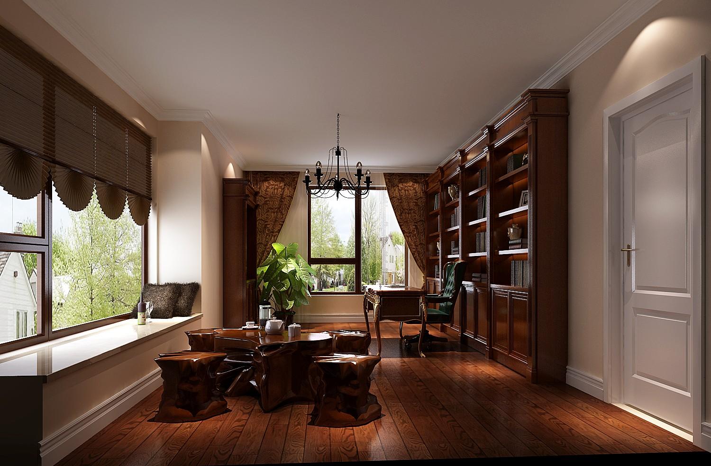 高度国际 美式 别墅 白领 简约 80后 白富美 高富帅 时尚 书房图片来自北京高度国际装饰设计在西山壹号院美式平层幸福之家的分享