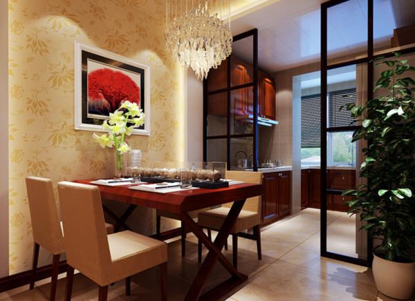 餐厅简洁干净有品味设计理念:原户型中并没有餐厅的空间功能,设计师根据业主的人均分配将厨房的一部分让出做为餐厅,把厨房阳台做为餐厅的延伸,使厨房的利用率提升。