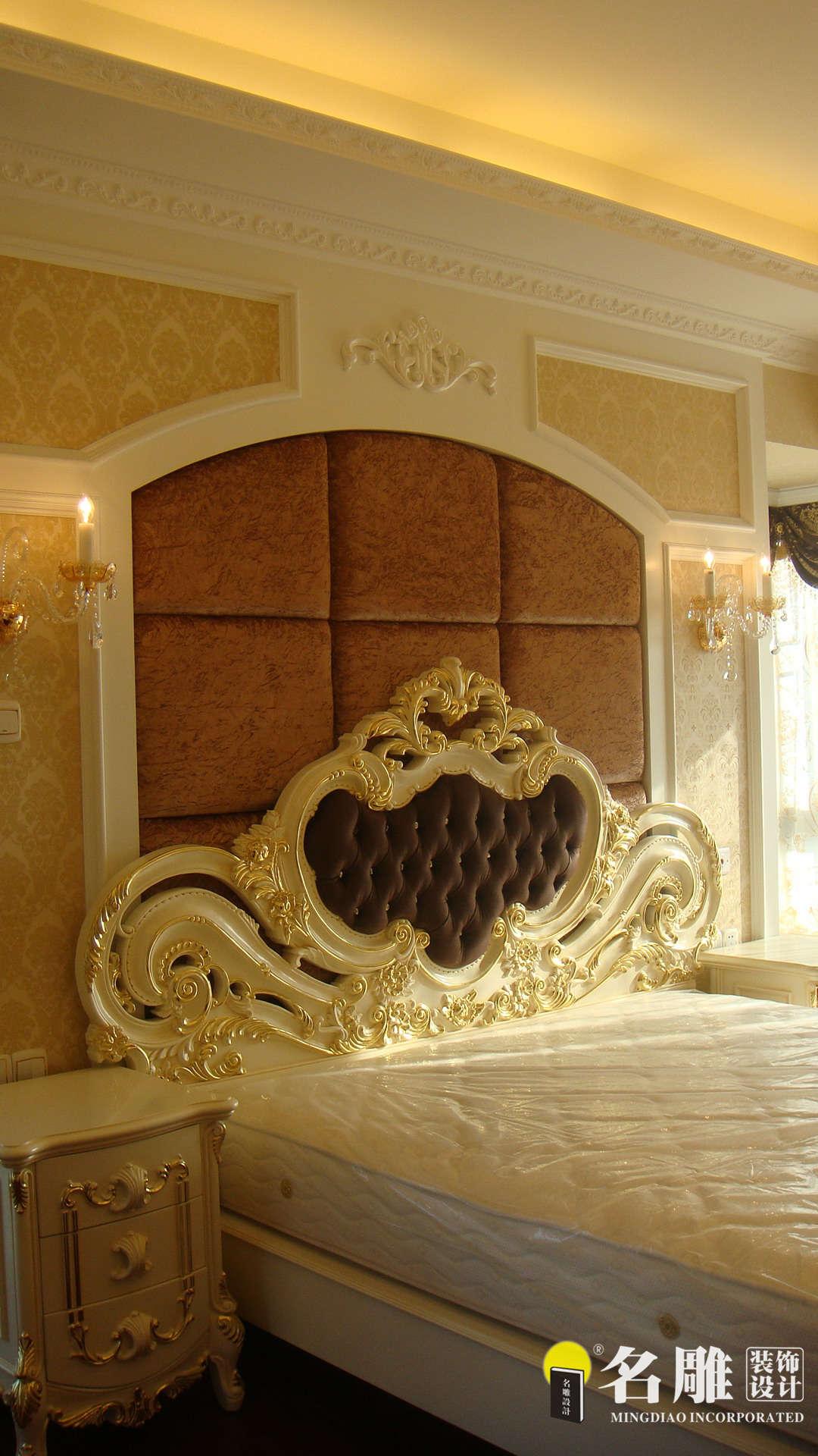 欧式 四居室 香蜜湖一号 高富帅 暖色调装饰 名雕装饰 卧室图片来自名雕装饰设计在香蜜湖一号华皓阁欧式奢华空间的分享