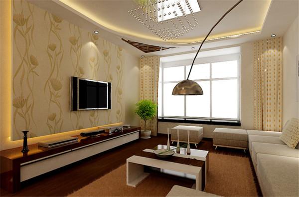 在现代简约的基础上,点缀中式元素。客厅吊顶局部装饰中式花格,胡桃木色地板,稳重大气,局部点缀壁纸凸显现代气息。
