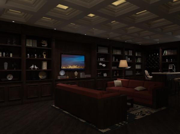 这张效果图是一张集休息,书房,会客等的多功能厅。