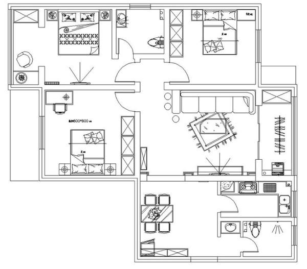 铁道金桥花园126平方三室两厅户型图