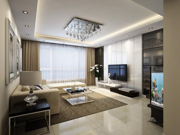 华地公馆-114平米-简约风格-客厅装修效果图