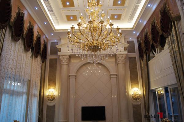 名雕丹迪别墅设计万科棠樾豪宅欧式客厅电视墙