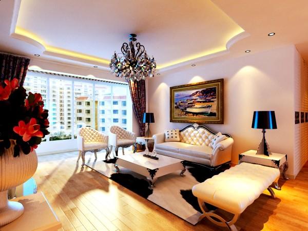 保利香槟国际-132平米-简欧风格-客厅沙发背景