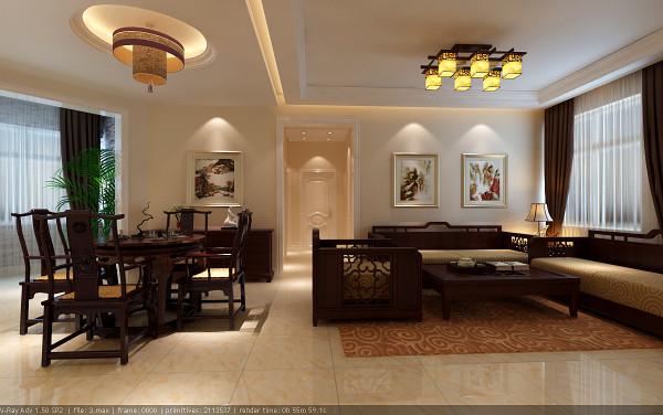 【成都实创装饰】110平米 新中式风格 三居 装修参考—整体家装—客厅装修效果图