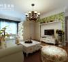 蓝鼎星河府田园风格,108㎡,客厅效果图,电视背景墙设计又田园,符合业主要求。