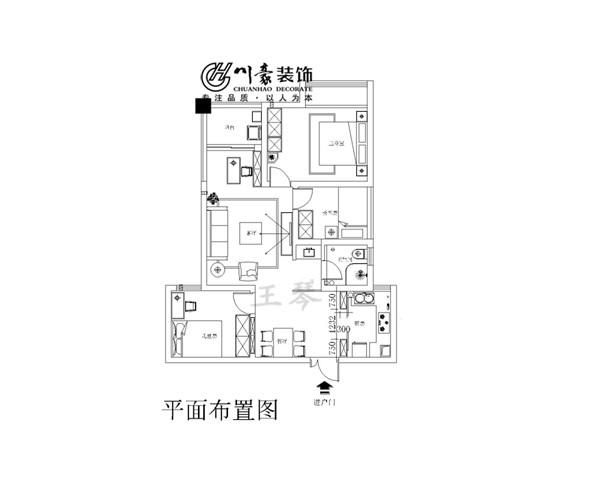 蓝鼎星河府田园风格,设计方案,改成了四室,三个卧室,一个书房,非常实用的房型设计。