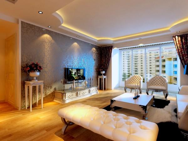 保利香槟国际-132平米-简欧风格-客厅电视背景装修