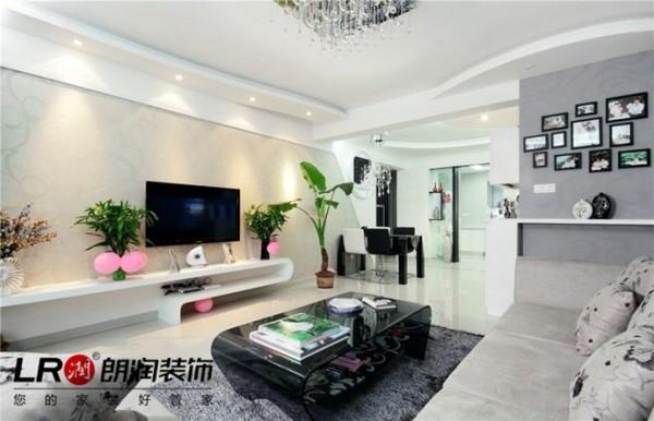 清新婉约造型唯美的客厅造型,注意顶面墙面地面的相互造型呼应,简单不繁复,但是时尚元素十足,黑白灰的完美运用。