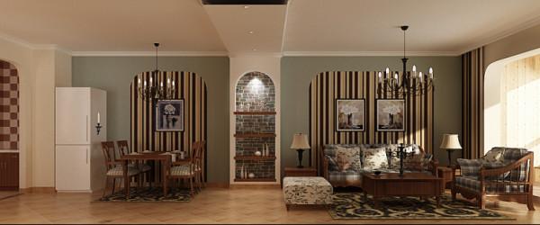 沙发背景墙的设计结合了地中海风格的拱形元素,个性的壁纸和大面积的颜色漆带给人们一种特别的视觉享受;棉麻制品的布艺,电视墙的装饰壁炉,渗透出乡村艺术的魅力。