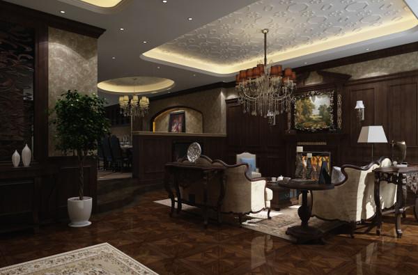 这张是是客厅设计效果图,典型的英伦风情展现的淋漓尽致。
