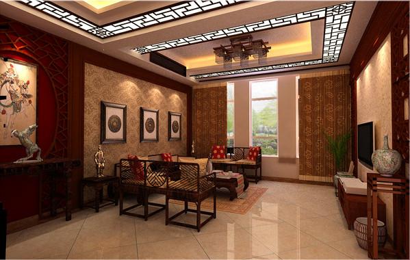 此案客户要求中式风格,那么中式风格的体现不仅在家具上,还要从顶面吊顶和电视墙上体现元素,顶面采用很经典的中式雕花跟电视墙造型和沙发背景都有很好的呼应。
