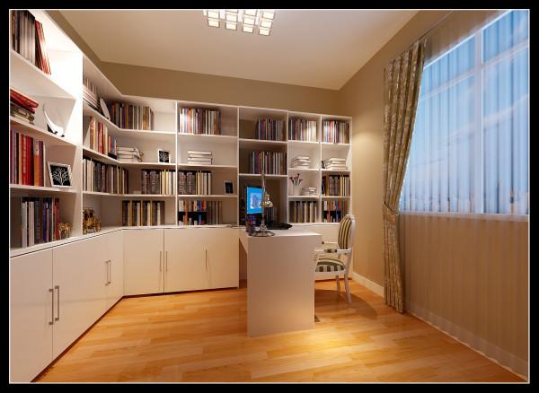 【成都实创装饰】110平米 现代简约 婚房 装修参考—整体家装—书房装修效果图