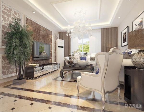 客厅白色的皮质沙发 ,柔软的抱枕,地面拼花,使空间雅致、干净、大气,在温暖的的灯光下享受休憩的时光。