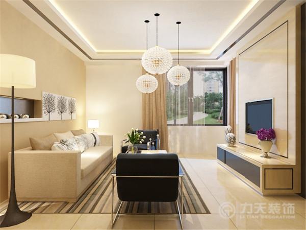 本设计风格为现代简约风格,客厅以黄色黑色为主要色调,电视背景墙采用原木和黑色玻璃镜面相结合,显得背景墙简单大方吊顶采用回字形吊顶,木线圈边吊顶里暗藏灯带。
