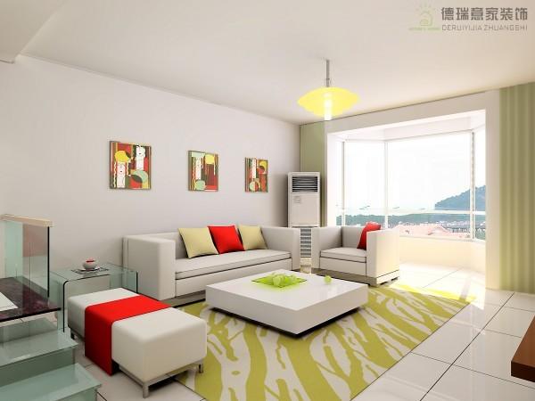 客厅:超大的落地窗使整个客厅都沐浴在阳光下,简单的沙发背景墙挂上主人最喜爱的壁画,营造出了整体的温馨,立体感的沙发家具业更加体现了现代风格。