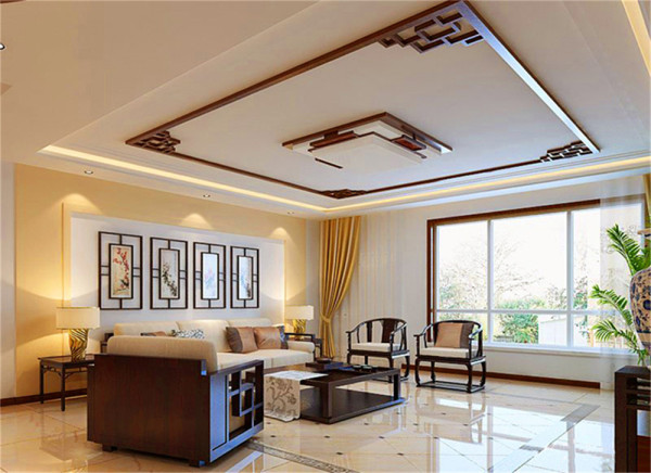 亮点:客厅中间斜铺式地砖,使得中规中矩的中式风格中带有异样的视觉效果,沉稳带有活跃,明朗而又大方。