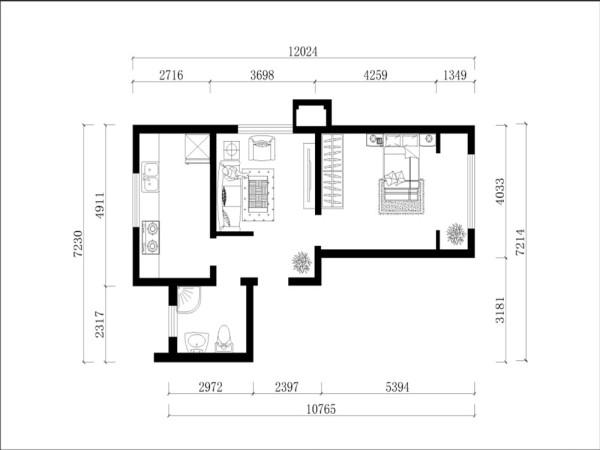 进入入户门后是与客厅等长的玄关,玄关与客厅是用一道短墙分割开来的,在达到了分隔空间作用的同时,也不会显得空间狭小。