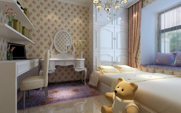 卧室装修效果图,书房,榻榻米,衣柜,梳妆台,女孩子的闺房精致,温馨。