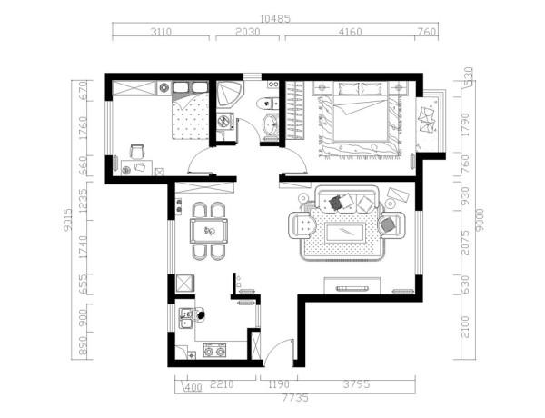 一入入户门是一条小走廊,走廊过后右手边即为客厅,宽敞明亮,采光极好。左手边是餐厅,沿着走廊继续往前走对正的是卫生间,左手边是次卧,右手边就是主卧了。整体户型方正规则,功能划分明确,便于设计。