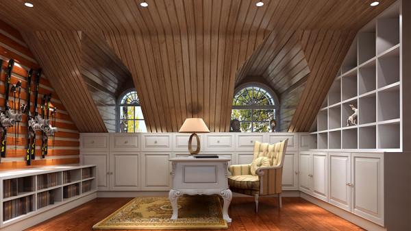 尖耸的褐红色屋 顶,充满异国情调,别墅内欧式壁橱、古典风格的暗格书柜,设计之独具匠心从这 一处处细节可见一斑。