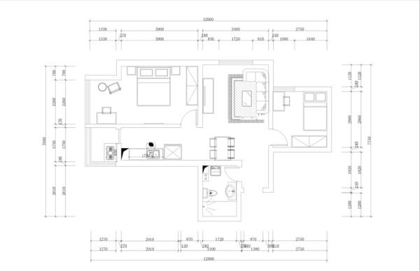 本案为福和园2室1厅1卫1厨 55.00㎡的户型。从片面效果图来看,以顺时针方向走,入户门进去,有一个小的玄关,玄关的左手边为卫生间,在里面走是客餐厅的部分