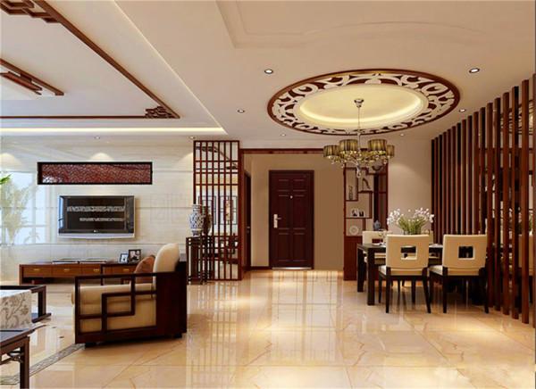 设计理念:餐客厅一体,空间本就不拘束,餐厅旁的迎合主题的中式立柱之后,再加上整面的墙面装饰镜,使得本就空间有余的餐厅在视觉上更加得以延伸与更加明亮。