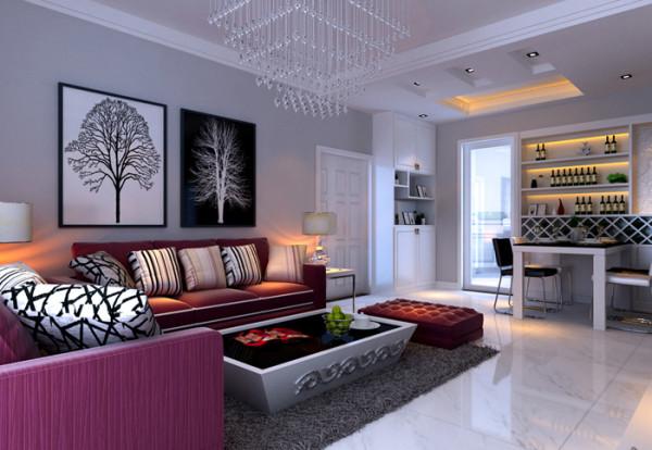 沙发亮丽,餐厅现代感强烈。