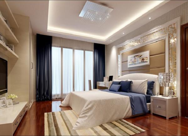 主色调大致没有变。床头背景采用米黄色软包装设计,卧室墙面配有暖色调墙纸,搭配上高贵典雅的欧式双人床。暖色的灯光下透露着无尽的温馨质感。