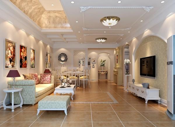 客厅以简约的线条代替复杂的花纹,采用更为明快清新的颜色,既保留了古典欧式的典雅与豪华,又更适应现代生活的休闲与舒适。