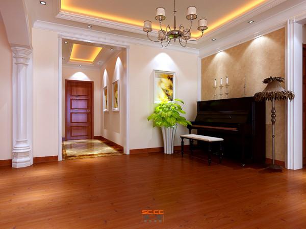 门厅吊顶和地面的呼应及休闲区石膏线条的搭配