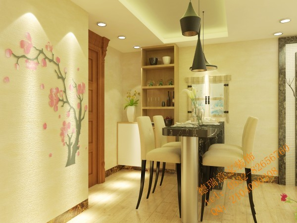 一:进入家门首先映入眼帘的是时尚吧台式餐桌,设计师在玄关处的鞋柜设计增加了酒柜,使得储存空间增大。