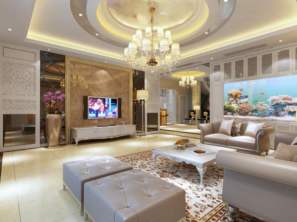 设计理念:少了富丽堂皇的装饰和浓烈的色彩,呈现的则是一片清新,典雅和大气并存的轻松空间。 亮点:电视背景墙,装饰柜内硕大的鱼缸,天花的设计,无一不显客厅的大气