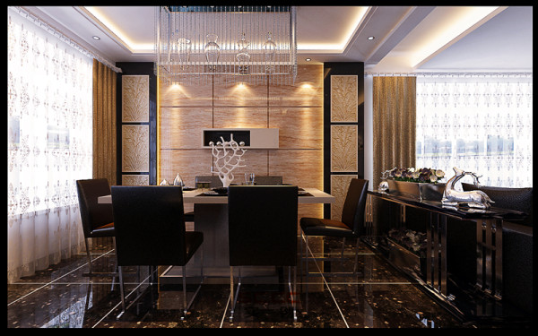 设计理念:就餐区用了欧式水晶吊灯,配上华丽的家具,彰显其奢华、典雅、高贵的特有气息。