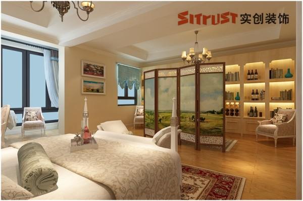 主卧室1:大气稳重的主人卧室 主人的卧室空间充分考虑大气及实用性,整面墙的书柜设计完美地体现了整体的实用性