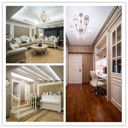 温柔的浅色系欧式风格,合理的布局让空间突显得更加宽阔,香槟色玻化砖作为装饰背景墙,并镶嵌上银色金条作为钩边,有着一股大气的欧美范。