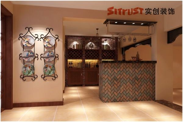 负一层1文艺范的酒吧区 负一酒吧区整体考虑个性及文艺范元素,运用文化砖及实木纹理的柜体板粗框的结合,打造出个性感十足的酒吧区