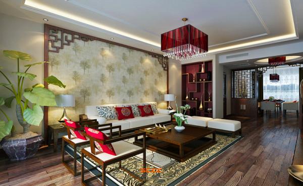 设计理念:幽幽古韵,清雅脱俗。 亮点:客厅一旁的展示柜,摆放着精致小巧的饰品,让空间增添奢华感受。