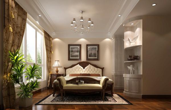主卧通过欧式的大床和弧形的通顶柜打造出优雅细腻的一个休息空间,也与整个设计理 念完全吻合,达到整体中有细节,细节中体现整体。