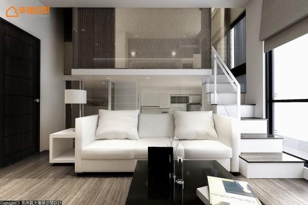 运用家具定位出的机能关系,由白色沙发划分出后方的餐厨范围,并以玻璃界面形成实质区隔。 (此为3D合成示意图)