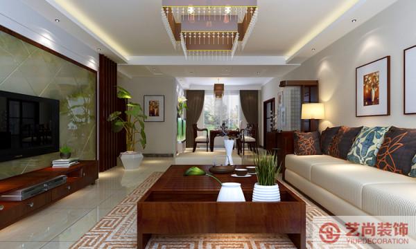 现代简约中式(新中式),运用了现代风格的简单造型,新中式的实木雕花,青色的玉石做造型,色彩丰富的壁纸画做点缀,营造一种稳重简约的空间!