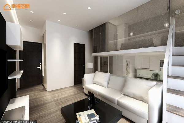 采取平顶式的天花板设计,以利落简洁的灯带线条,顺势凸显垂直纵深的挑高优势。 (此为3D合成示意图)