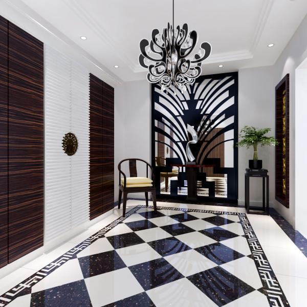 温哥华森林 420平米 新中式风格 门厅装修效果图  地面拼花理石 给整个空间增添了时尚的感觉。