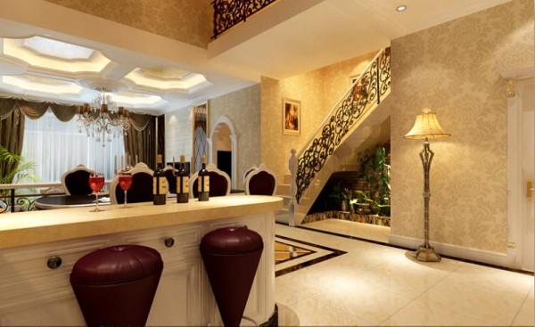 【武汉实创装饰】纳帕溪谷奢华欧式别墅设计/高贵典雅-一层餐厅设计