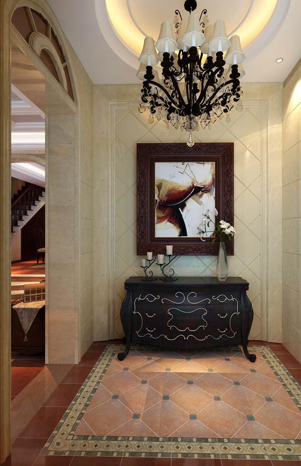 步入大门,光影绚烂流光四溢的诱惑令人驻足凝望,仿米黄色理石砖与金色美缝剂色调统一,整体天偶佳成。精美沉稳的边柜上方展示的仿真花艺和墙面花朵装饰画浑然天成的,成为了玄关区光彩夺目的端景。