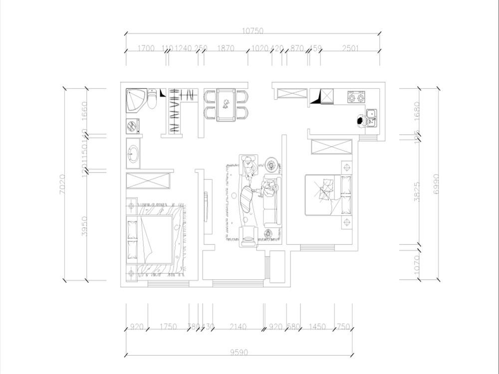 简约 三居 白领 收纳 80后 小资 户型图图片来自阳光力天装饰梦想家更爱家在北宁湾3室2厅91平设计方案的分享