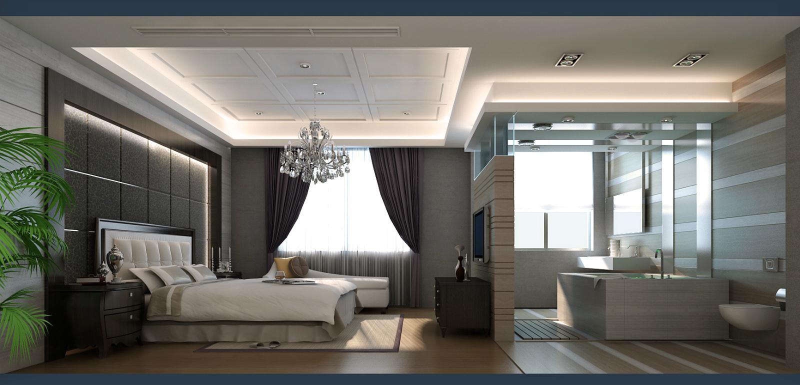 武汉实创 金色港湾 四居 复式楼 现代风格 卧室图片来自静夜思在高贵奢华︱金色港湾︱现代风格的分享